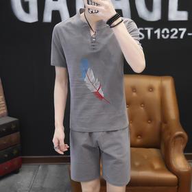 【寒冰紫雨】  大码套装男装M-5XL码套装 T恤男短袖上衣服+短裤 2件套装男    AAA5694