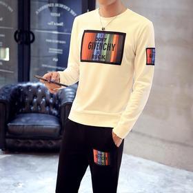 【寒冰紫雨】  大码套装男装M-3XL码卫衣男士套装 T恤男长袖上衣服+九分裤子男装   2件套装男      AAA5698