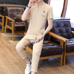 【寒冰紫雨】  大码套装男装M-3XL码套装 T恤男短袖上衣服+九分裤子男装   2件套装男    AAA5695