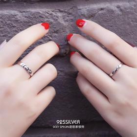 纯银戒指情侣一对日韩创意爱心学生简约未镶嵌永不分离对戒指环女