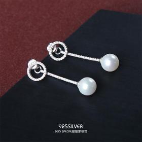纯银贝珠一款两戴显脸瘦的圆圈人鱼姬耳环大气超仙耳钉韩国气质