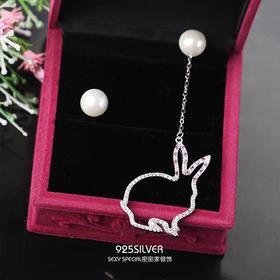 925纯银兔子耳钉显脸瘦的一款两戴耳环耳坠女爆款超仙大气酷帅潮