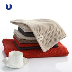 半岛优品   蜂窝纯棉毛巾浴巾两件套,3秒瞬吸享受沐浴