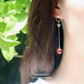 925纯银红色水晶球五角星圆环耳钉耳环女超仙长款耳坠韩国时尚款