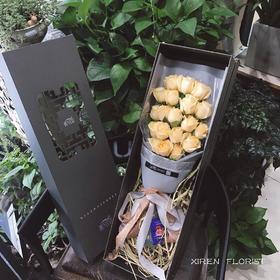 香槟色玫瑰中国风礼盒