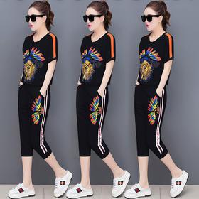 【寒冰紫雨】  潮牌夏季新款 运动套装女女装韩版时尚短袖七分裤大码休闲服两件套 红色 L    AAA5721