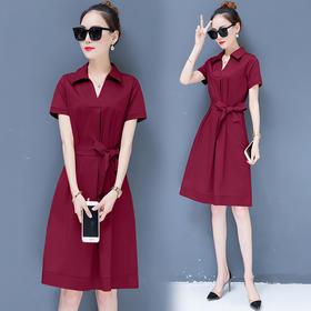 【寒冰紫雨】   短袖连衣裙夏季新款 韩版显瘦中长款连衣裙时髦夏天裙子潮 焦糖色 XL  AAA5718