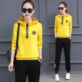 【寒冰紫雨】 春秋装女士休闲运动套装女新款 韩版长袖修身显瘦卫衣女两件套 黄色 XXL        AAA5727