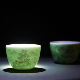 宝瓷林 豆青墨彩山水小罗汉杯 景德镇陶瓷 颜色釉加彩 单杯茶杯