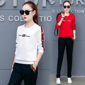 【寒冰紫雨】  圆领卫衣套头休闲运动跑步服女士套装春秋季 时尚新款显瘦大码两件套女潮 白色 XL  AAA5728