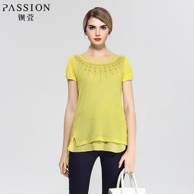 钡萱夏季新款 时尚烫钻拼接假两件修身针织衫短袖上衣 DM1DM