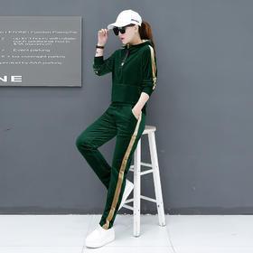 【寒冰紫雨】  女春秋金丝绒运动服2件套装 春季新款时尚休闲春装韩版卫衣两件套粉色  L    AAA5734