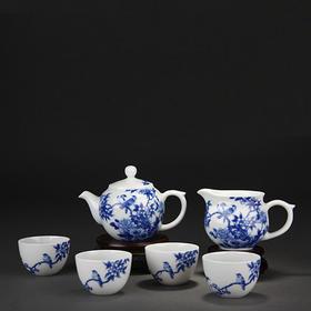 宝瓷林 花语青花6头茶具小罗汉杯景德镇陶瓷茶具套装手绘功夫茶具