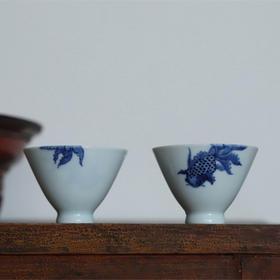 七夕礼 金玉良缘 手绘青花对杯 景德镇手工陶瓷茶杯茶具