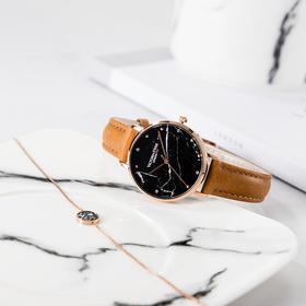 【大理石纹理 酷黑字面】儒雅情侣对表时尚石英手表