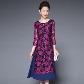 TZF-J8001CL网纱刺绣修身连衣裙