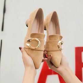 LN009时尚绒面浅口粗跟单鞋