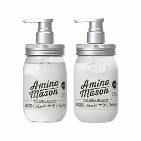 【香港直邮】【向往的生活同款】日本Amino mason 升级氨基酸头皮护理滋养洗发水 450毫升+护发素 450毫升