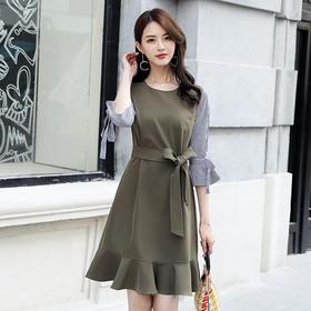 【寒冰紫雨】 连衣裙假两件时尚潮流拼接裙子  春秋装女士长袖鱼尾连衣裙    AAA5770