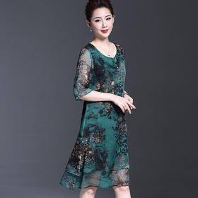 MQ17211016气质印花雪纺连衣裙