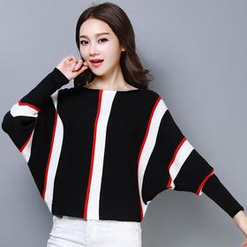 【寒冰紫雨】韩版条纹气质一字领套头长袖蝙蝠杉 女薄款冰麻打底针织衫    AAA5792