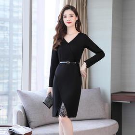 【寒冰紫雨】 潮牌蕾丝连衣裙新款 复古裙收腰长袖黑色针织一步裙 黑色 S   AAA5790