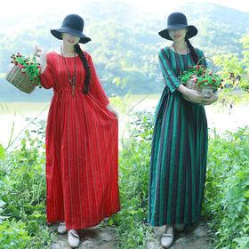 GN589EJ民族风修身条纹连衣裙