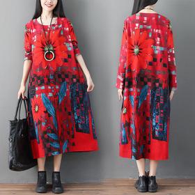 GN381QX民族风宽松棉麻连衣裙