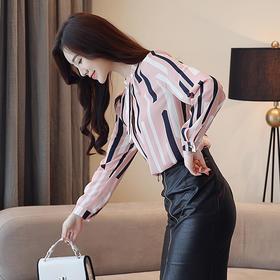 【寒冰紫雨】 衬衫女长袖新款  OL印花撞色条纹长袖套头女士雪纺衬衣女  衬衣打底衫印花衬衣女士衬衣    AAA5789