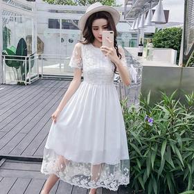 【寒冰紫雨】 网纱刺绣蕾丝连衣裙长裙女夏韩版时尚白色裙仙气 白色 L    AAA5775
