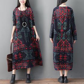 GN382QX民族风宽松棉麻连衣裙