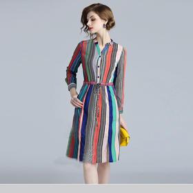 AHM53131xcby修身气质条纹连衣裙