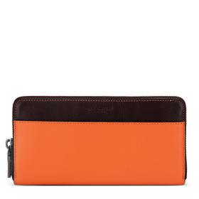 【香港直邮】COACH/蔻驰 女士时尚拼色牛皮长款钱包橙色配棕色