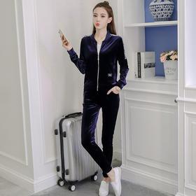 【寒冰紫雨】 女装新款时上卫衣两件套金丝绒休闲运动套装春款片色 片色 S    AAA5776
