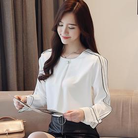【寒冰紫雨】 衬衫女长袖新款  茉莉白色衬衫女士雪纺衬衣女  衬衣打底衫印花衬衣纯色女士衬衣   AAA5788