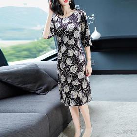 AHM30604hffs气质印花金丝绒连衣裙