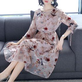 AHM50062ym名媛气质印花连衣裙