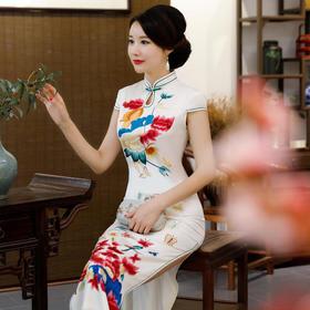 TZF2018-26新款丝绸素雅水墨荷花旗袍