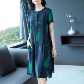 AHM90997ess气质宽松印花连衣裙