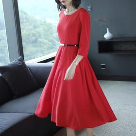 AHM71912ylfs淑女气质纯色连衣裙