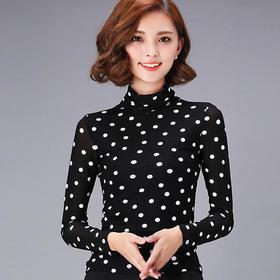 KQL525397873342百搭波点网纱打底衫