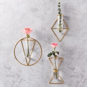 北欧墙上铁艺壁挂简约墙面装饰玻璃水培花瓶挂饰家居客厅走廊壁饰
