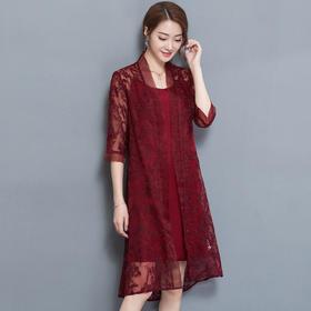 GN6812PJ绣花优雅宽松连衣裙两件套