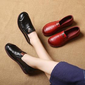 MLD929复古深口防滑平底皮鞋