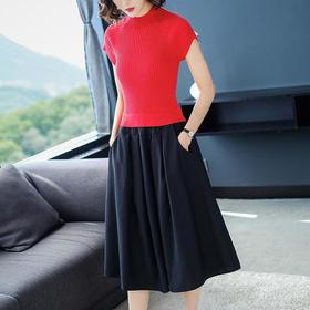 SHJS601-5800修身针织拼接连衣裙