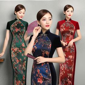 TZM335丝绒拼接改良时尚旗袍