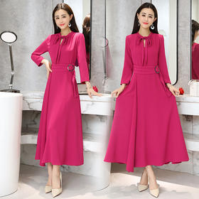 AN2013BBL时尚优雅纯色连衣裙