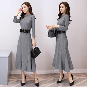 AN2018BBL时尚气质优雅格子连衣裙