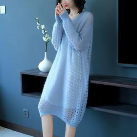 SHJS211-A2074镂空马海毛混纺连衣裙