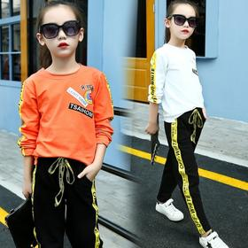 【寒冰紫雨】新款女童套装儿童夏装中大童韩版夏季夏款女大童运动两件套潮 2套装 黄色     AAA5819
